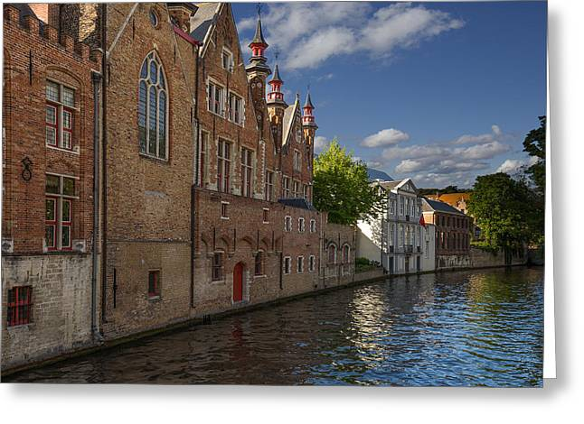 Town Mixed Media Greeting Cards - Canals of Belgium Greeting Card by Capt Gerry Hare