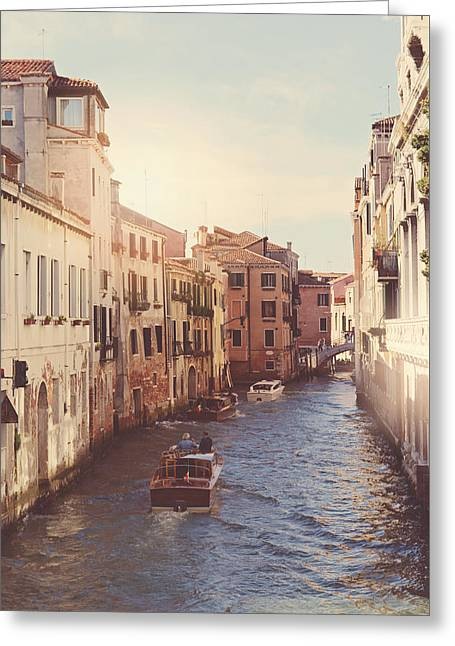 Canals Of Venice With Instagram Vintage Style Filter Greeting Card by Brandon Bourdages