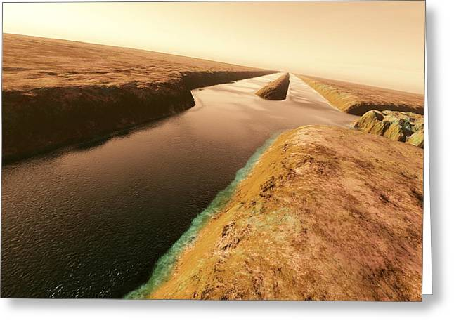 Canals On Mars Greeting Card by Detlev Van Ravenswaay