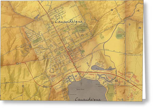 Canandaigua Greeting Cards - Canandaigua Map Art Greeting Card by Paul Hein