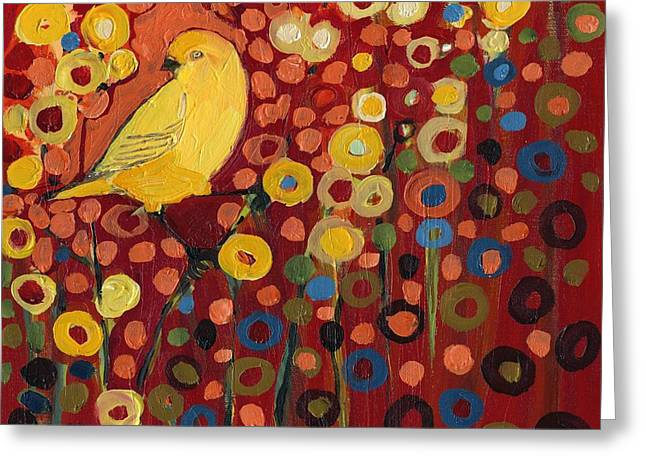 Nature Abstract Greeting Cards - Canary in Red Greeting Card by Jennifer Lommers