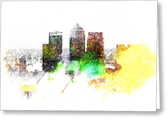 Canary Yellow Greeting Cards - Canary Wharf London Greeting Card by Martin Newman