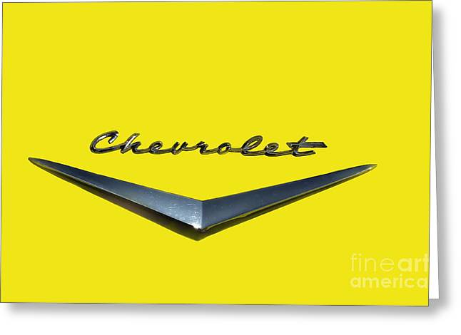 Collector Hood Ornament Greeting Cards - Canary Yellow Chevrolet  Greeting Card by Andrea Kollo