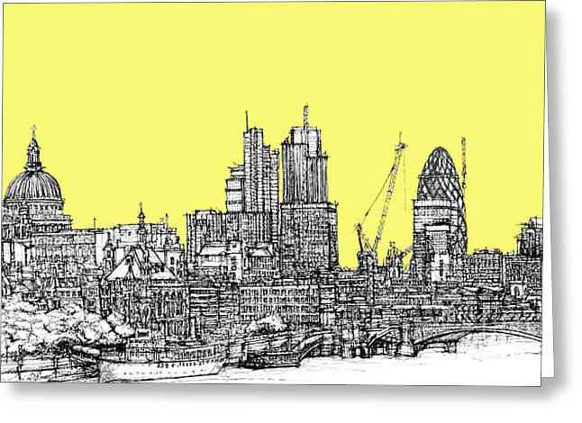 Pen And Ink Framed Prints Greeting Cards - Canary Yellow London Skyline Greeting Card by Lee-Ann Adendorff
