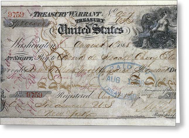 Buy Goods Greeting Cards - CANCELED CHECK for ALASKA PURCHASE  1868 Greeting Card by Daniel Hagerman