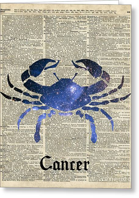 Cancer Crab Zodiac Sign  Greeting Card by Jacob Kuch