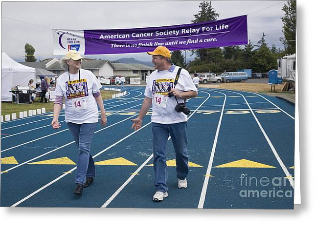 Fund Raising Greeting Cards - Cancer Walk Relay For Life Greeting Card by Inga Spence