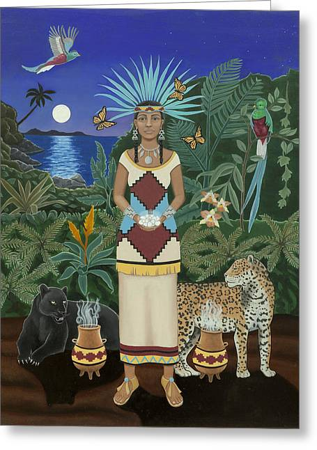 Empowerment Paintings Greeting Cards - Cancer / Xochiquetzal Greeting Card by Karen MacKenzie