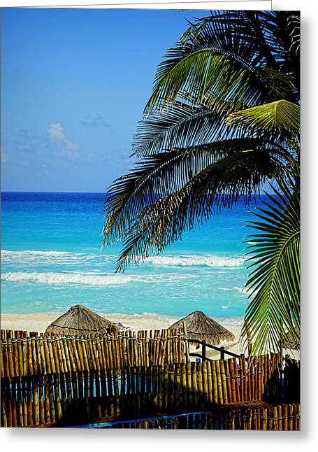 Tropical Oceans Greeting Cards - Cancun Beach - photography Greeting Card by Ann Powell