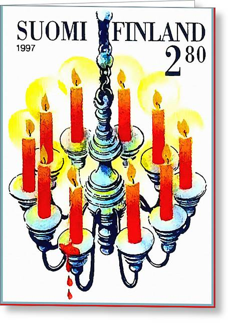 Candle Lit Greeting Cards - Candelabum Greeting Card by Lanjee Chee
