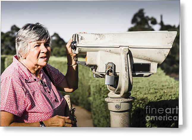 Outlook Greeting Cards - Candid senior woman enjoying a mountain top view Greeting Card by Ryan Jorgensen
