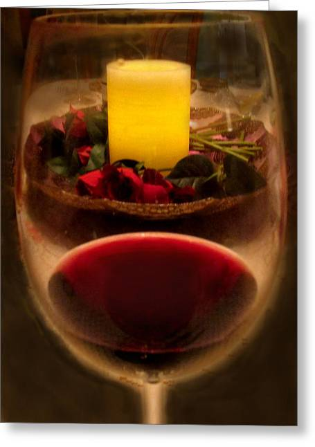 Table Greeting Cards - Candle And Wine Greeting Card by Ian  MacDonald