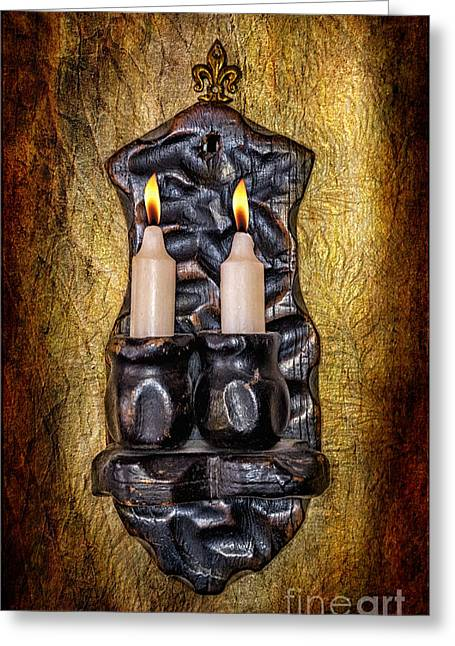 Candle Holder Greeting Card by Adrian Evans