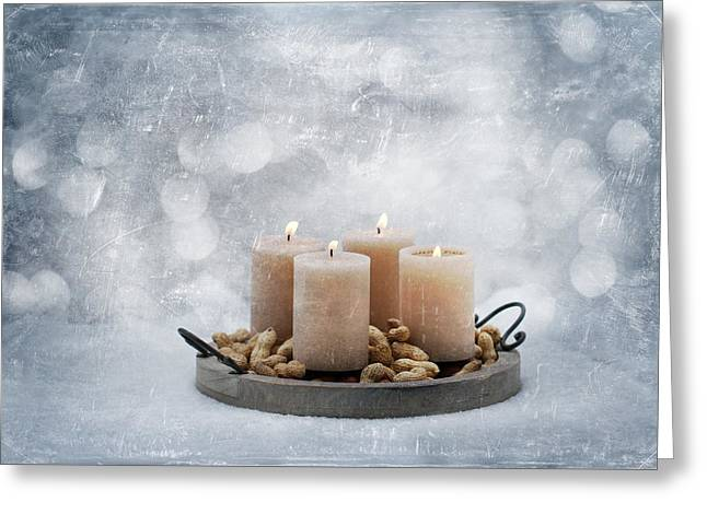 Candle Lit Greeting Cards - Candle In Snow Greeting Card by Heike Hultsch