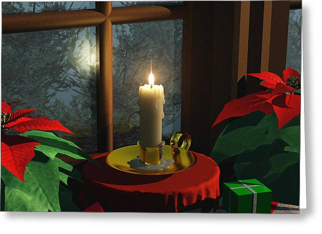 Snowy Night Greeting Cards - Candle in the Window Greeting Card by Brian Kissinger