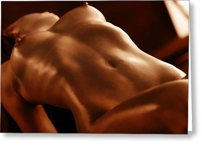 Nude Fine Art; Figure Art Greeting Cards - Candle Light Greeting Card by Naman Imagery