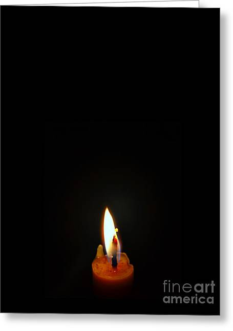 Candle Lit Greeting Cards - Candle Light vs Moon Light Greeting Card by Celestial Images