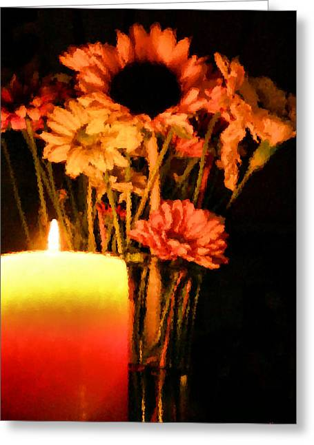 Glass Vase Greeting Cards - Candle Lit Greeting Card by Kristin Elmquist