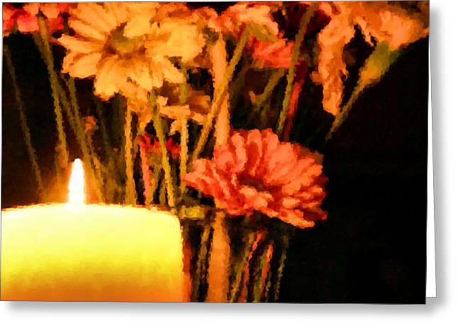 Candle Lit Greeting Card by Kristin Elmquist