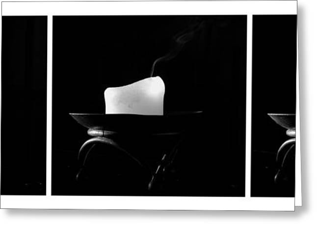 Light And Dark Greeting Cards - Candle Series Triptych Greeting Card by Nicole Daniah Sidonie
