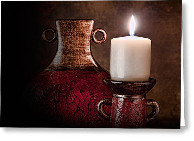 Candle Greeting Card by Tom Mc Nemar