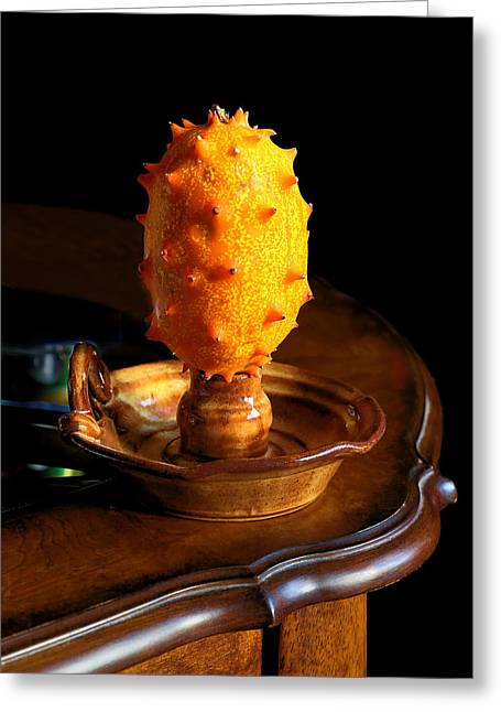 Candled Horned Melon Greeting Card by Viktor Savchenko