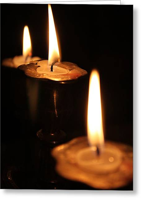 Flicker Greeting Cards - Candlelight Greeting Card by Lauri Novak