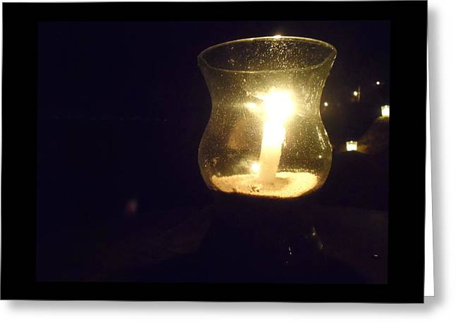 Beach At Night Greeting Cards - Candlelight Greeting Card by Theresa Adams