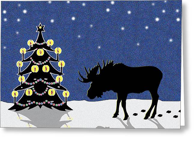 Night Scenes Greeting Cards - Candlelit Christmas Tree and Moose in the Snow Greeting Card by Nancy Mueller