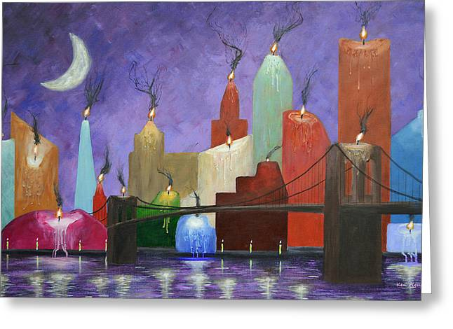 Candle Lit Greeting Cards - Candleopolis Greeting Card by Ken Figurski