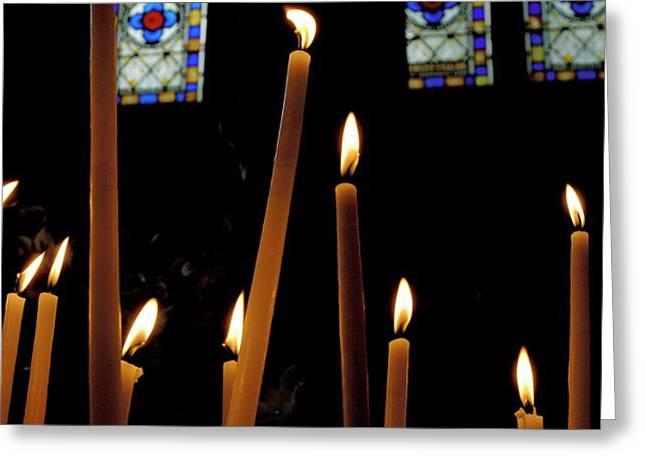 Candles burning inside the Basilica of the Saint Sauveur Greeting Card by Sami Sarkis