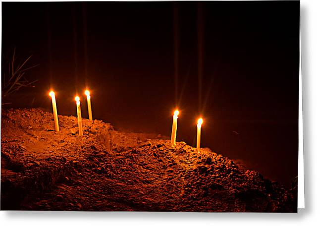 Candle Lit Greeting Cards - Candles by river  Greeting Card by Mudhaffr Ahmed