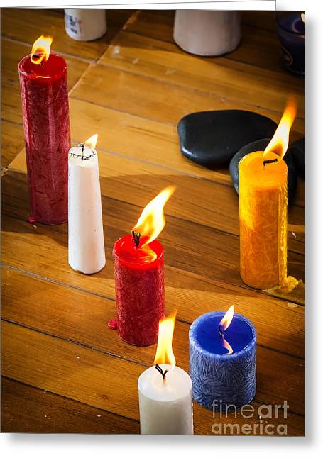 Candle Lit Greeting Cards - Candles Greeting Card by Charuhas Images