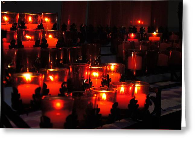 Candle Lit Greeting Cards - Candles In Church Greeting Card by Sheela Ajith