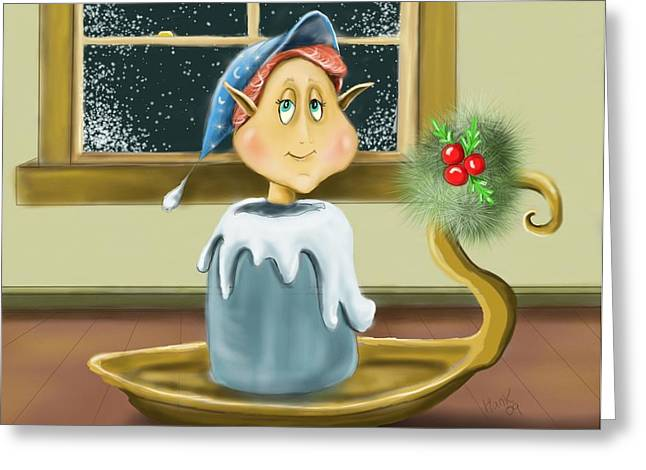 Christmas Art Greeting Cards - Candlestick Elf Greeting Card by Hank Nunes