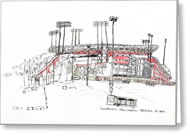 49ers Drawings Greeting Cards - Candlestick Park Greeting Card by Heng Hua Wang