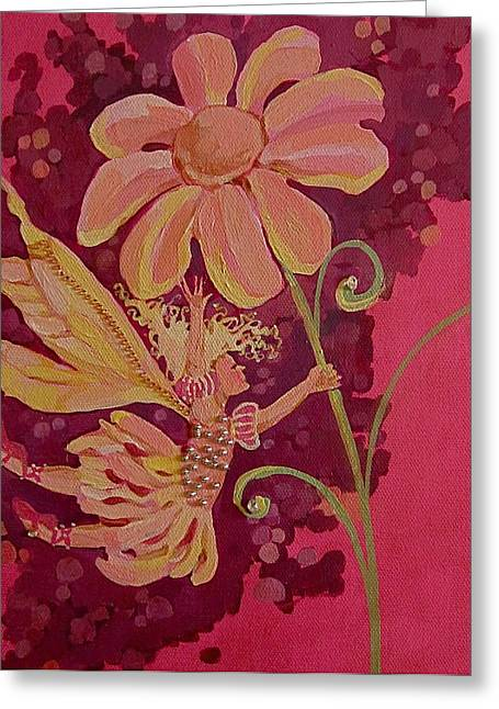 Best Sellers -  - Flower Pink Fairy Child Greeting Cards - Candy 2 Greeting Card by Jackie Rock
