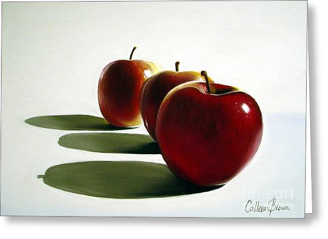 Harvest Greeting Cards - Candy Apple Red Greeting Card by Colleen Brown