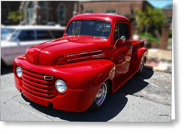 Vehicle Greeting Cards - Candy Apple Red F1 Chevy Truck Greeting Card by Lesa Fine