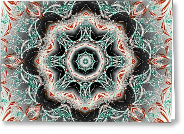 Abstract Waves Greeting Cards - Candy Cane Fractal Mandala Greeting Card by Marv Vandehey