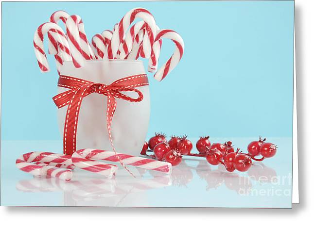 Tabletop Greeting Cards - Candy Canes Greeting Card by Milleflore Images