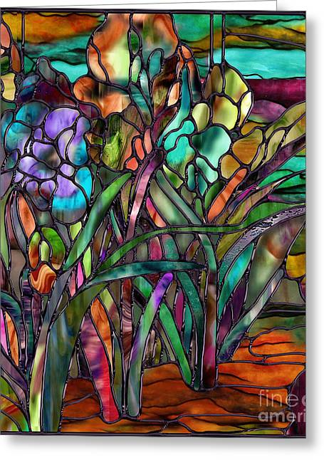 Stained Glass Greeting Cards - Candy Coated Irises Greeting Card by Mindy Sommers