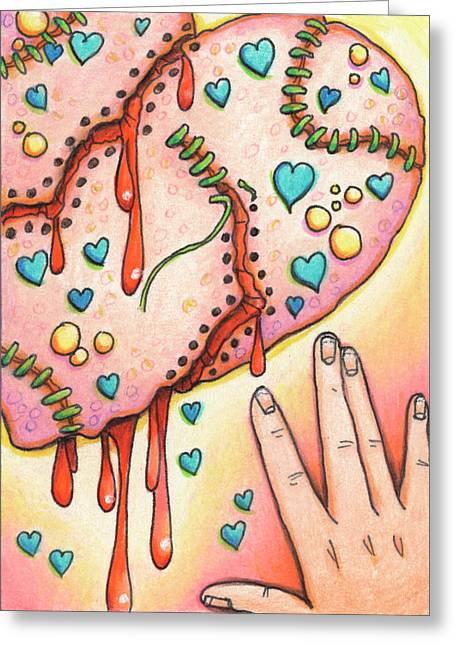 Broken Heart Drawings Greeting Cards - Candy Colored Heartache Greeting Card by Amy S Turner