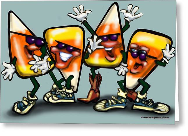 Funny Greeting Cards - Candy Corn Gang Greeting Card by Kevin Middleton