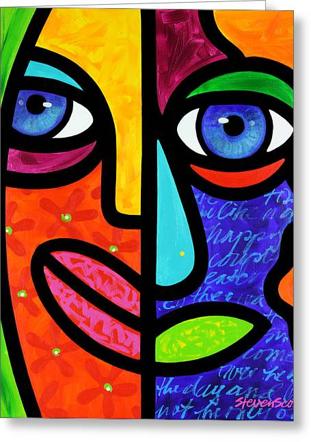 Abstract Faces Greeting Cards - Candy Dandee Greeting Card by Steven Scott