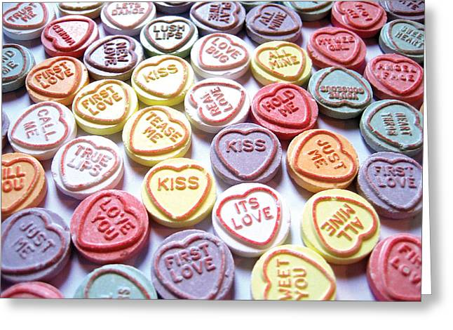 Valentine Greeting Cards - Candy Love Photography Greeting Card by Michael Tompsett