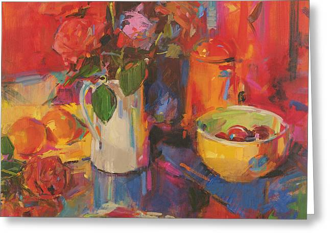 White Bowl Greeting Cards - Candy Roses Greeting Card by Peter Graham