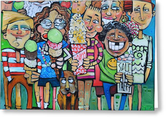 Kid Eating Ice Cream Greeting Cards - Candy Store Kids Greeting Card by Tim Nyberg