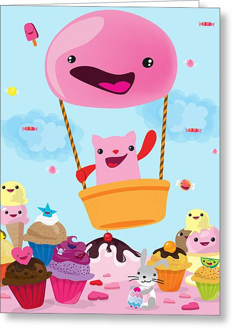 Cartoon Greeting Cards - Candy world Greeting Card by Seedys World