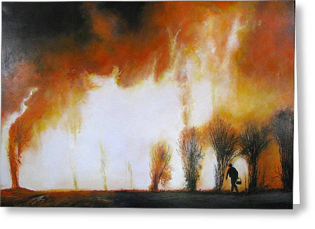 Wildfires Greeting Cards - Cane Burning Greeting Card by Christopher Chua